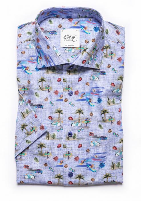 Ljusblå kortärmad skjorta Oscar of Sweden
