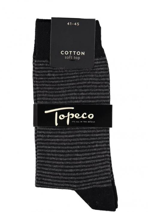 Topeco 3-pack soft-top strumpa randig, bomull, svart
