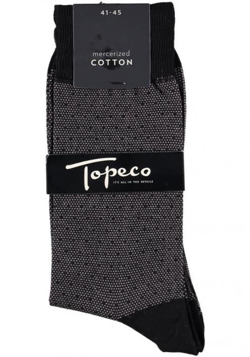 Topeco 3-pack strumpa mönstrad, mercericerad bomull, svart
