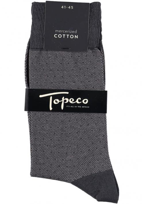 Topeco 3-pack strumpa mönstrad, mercericerad bomull, grå