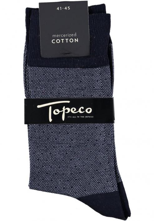 Topeco 3-pack strumpa mönstrad, mercericerad bomull, navy