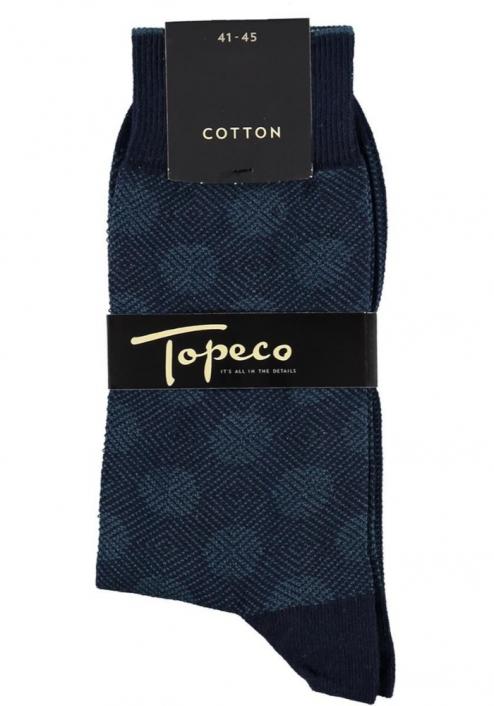 Topeco 3-pack strumpa mönstrad, bomull, navy