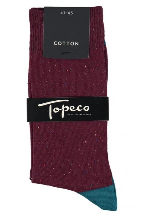 Topeco 3-pack strumpa mönstrad, bomull, mörk vinröd