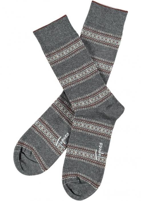 Topeco 3-pack strumpa mönstrad, bomull, gråmelange
