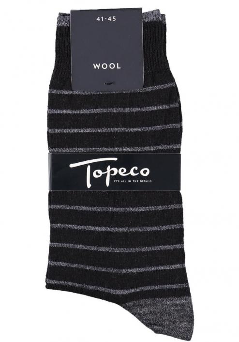 Topeco 3-pack strumpa mönstrad, ull, svart