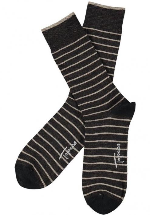 Topeco 3-pack strumpa mönstrad, ull, mörkbrun
