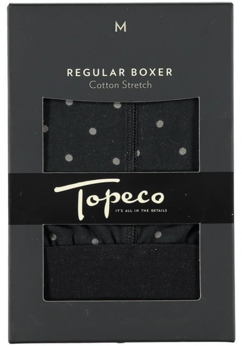Topeco 2-pack regular boxer mönstrad, bomullsstretch, svart
