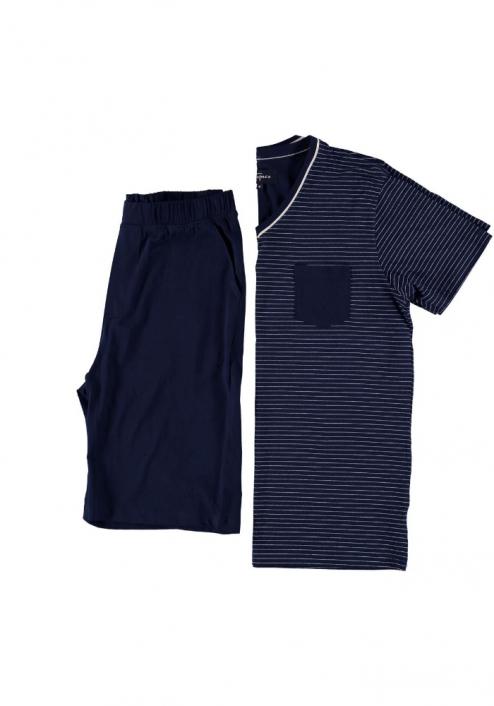 Topeco pyjamas kort, bomull, blå