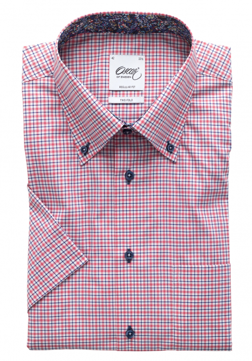 SHORT SLEEVED CHECKERED SHIRT WITH TRIM