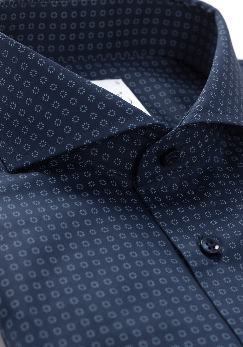 DEEP BLUE SHIRT WITH SMALL PRINT PATTERN