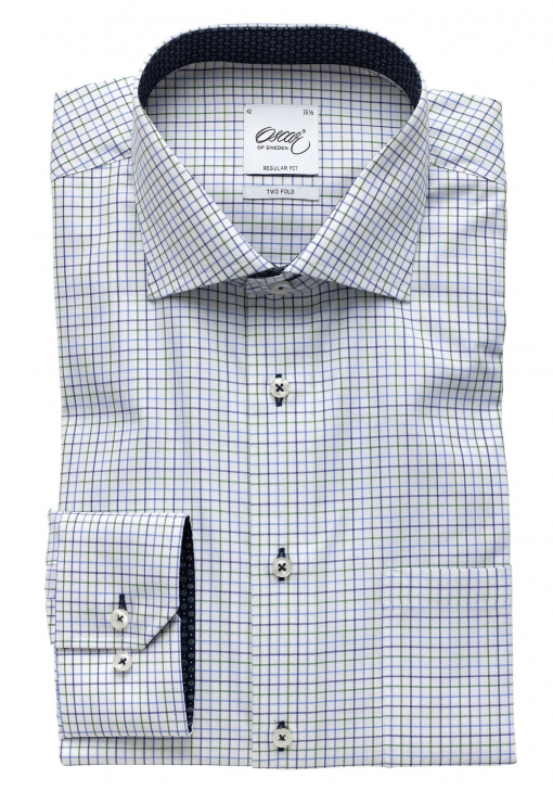 GREEN CHECKERED SHIRT WITH BLUE TRIM