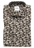 BROWN SHIRT WITH FLOWER-PATTERN