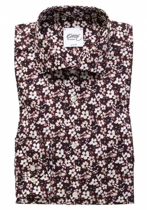 DARK RED SHIRT WITH FLOWER-PATTERN