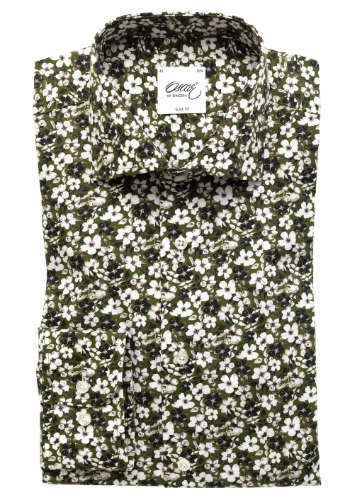 GREEN SHIRT WITH FLOWER-PATTERN