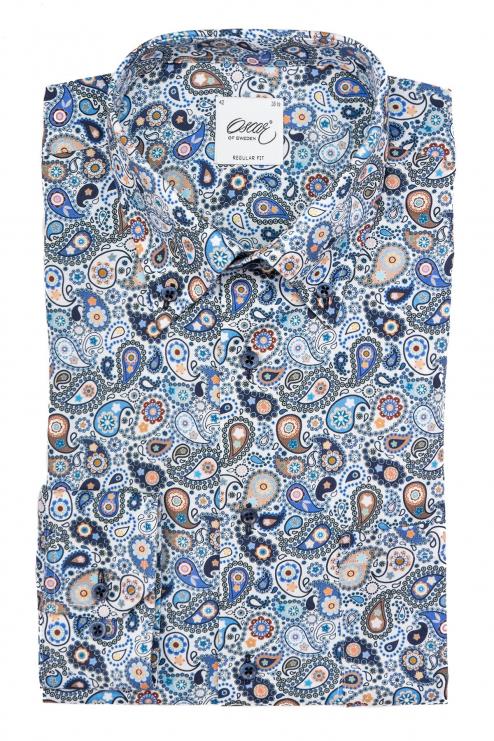 Blue paisley regular fit button down shirt