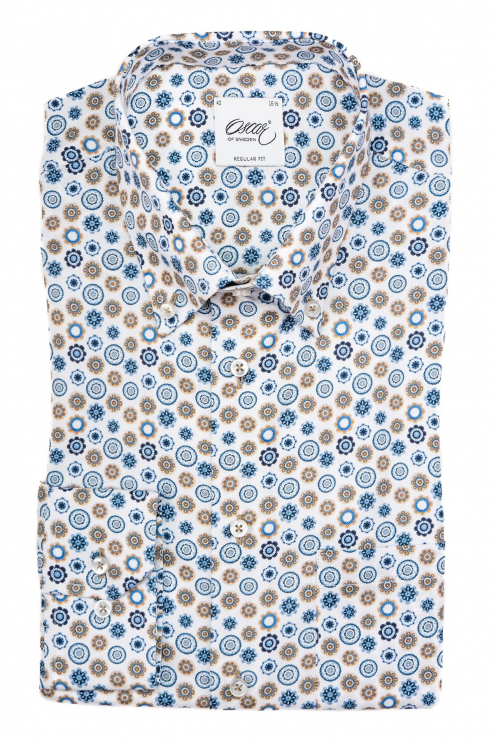 Blue and brown printed regular fit button down shirt