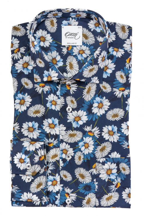 Blue flower printed regular fit shirt