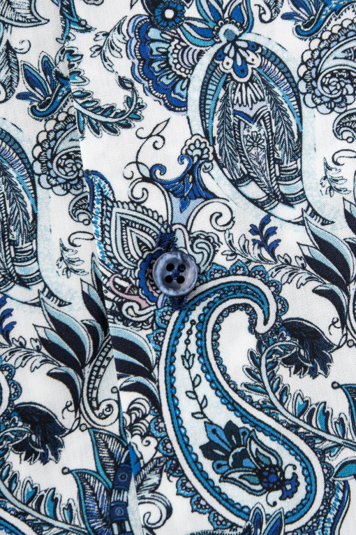 Blue paisley short sleeve regular fit shirt