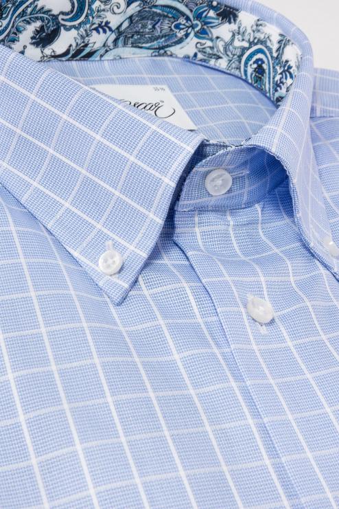 Blue checked short sleeve regular fit shirt