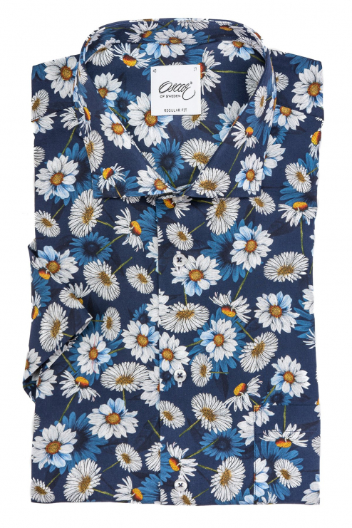 Blue flower printed short sleeve regular fit shirt