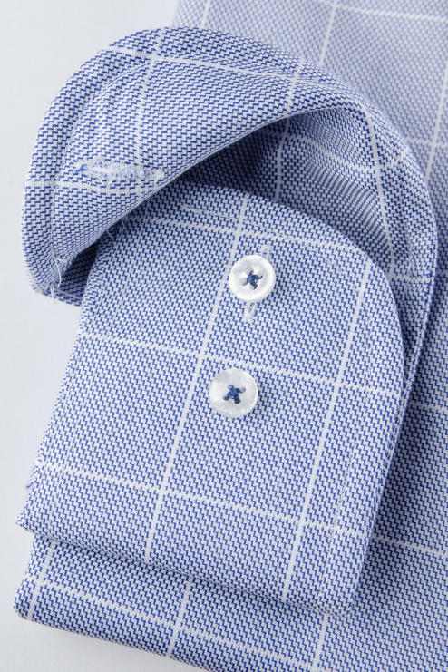 Blue checked regular fit shirt