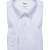 Light blue and white striped regular fit button down shirt