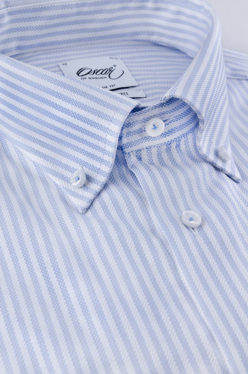 Light blue and white striped slim fit button-down shirt