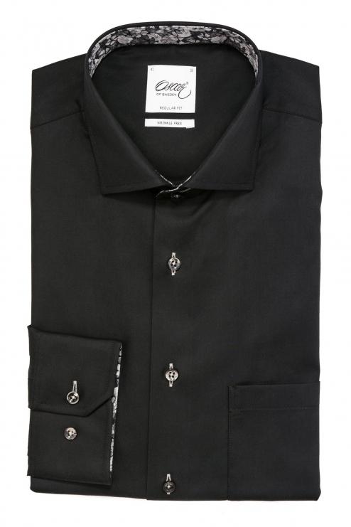 Black regular fit shirt with contrast details