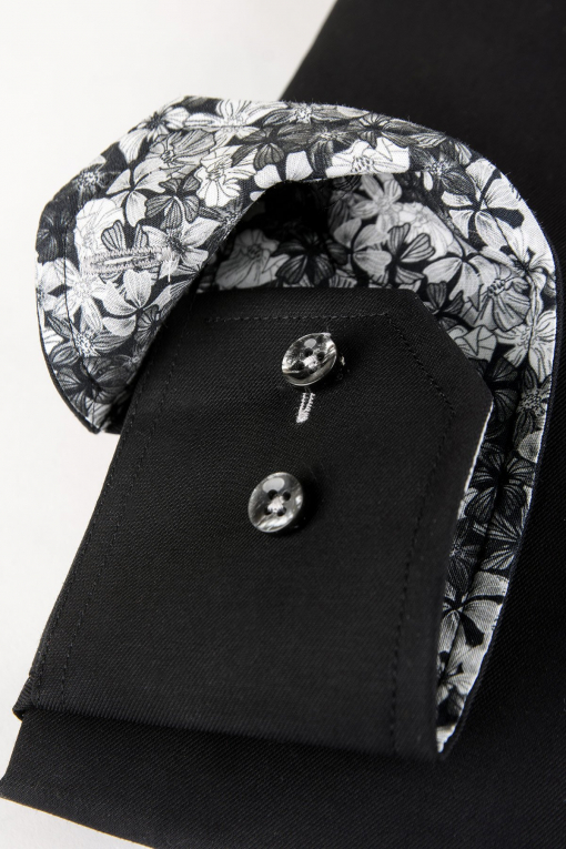 Black slim fit shirt with contrast details