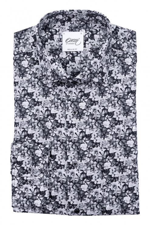 Black flower printed regular fit shirt