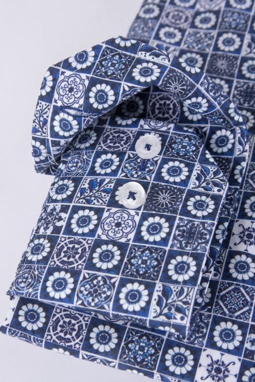 Blue printed regular fit shirt
