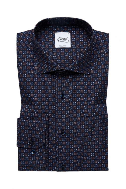 Indigo blue and brown printed regular fit shirt