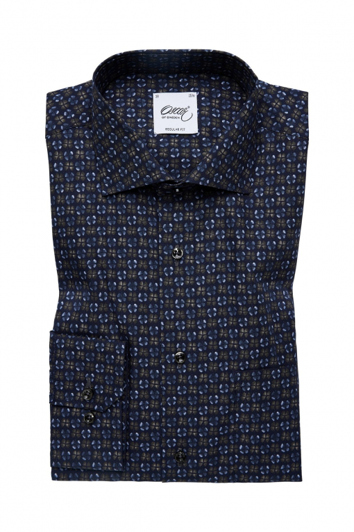 Indigo blue and green printed regular fit shirt