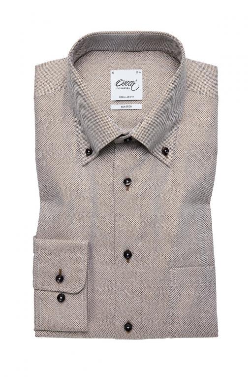 Beige button-down regular fit shirt
