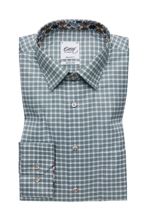 Green checked regular fit shirt with contrast details